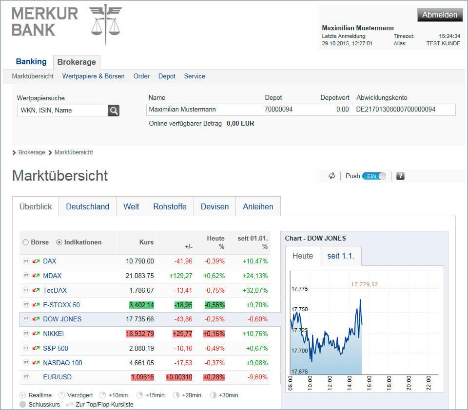 Merkur Bank Handelsplattform