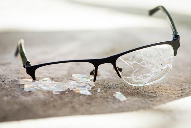 Kaputte Brillengläser