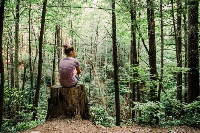 Sitzen im Wald